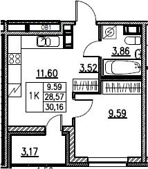 2Е-комнатная, 30.16 м²– 2