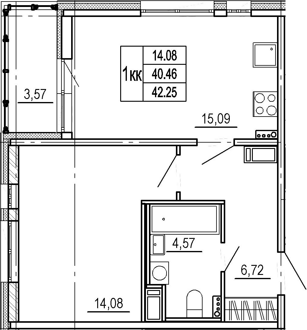 2Е-к.кв, 40.46 м²