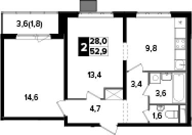 2-к.кв, 52.9 м², от 3 этажа