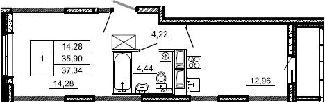 1-комнатная, 37.34 м²– 2