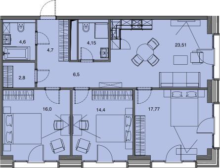 4Е-к.кв, 94.43 м²