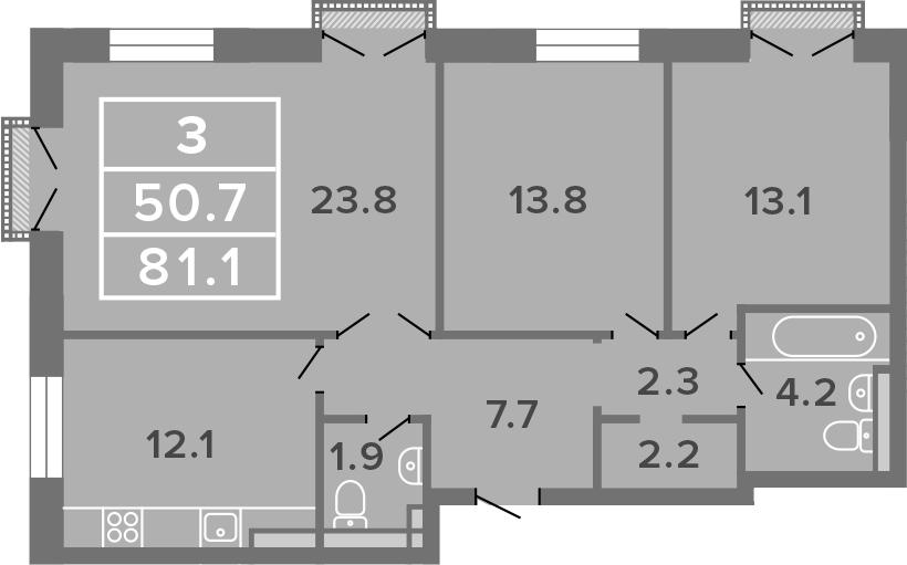 3-к.кв, 81.1 м²