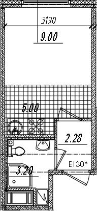 Студия, 19.48 м²
