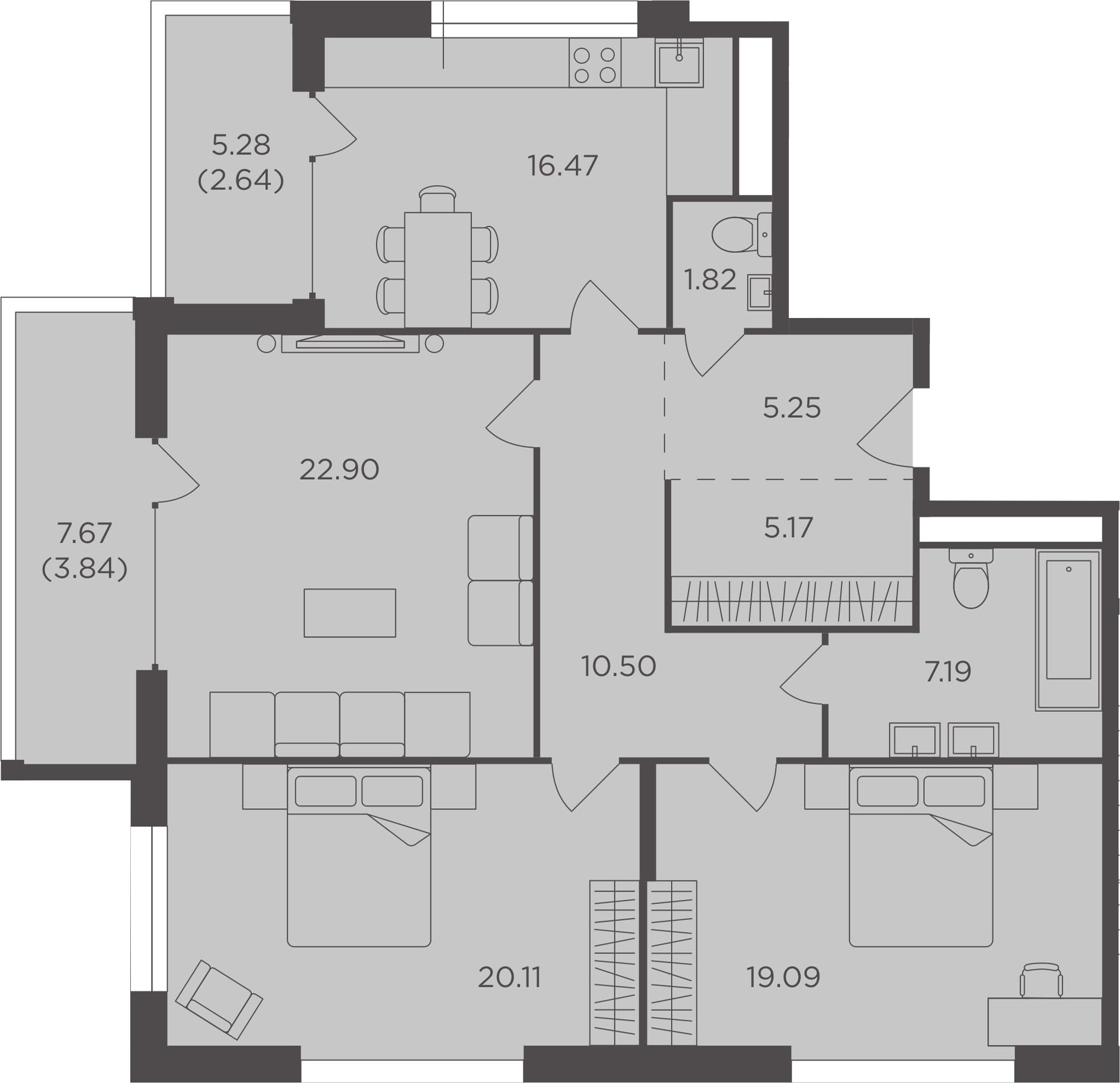 3-к.кв, 114.98 м², 13 этаж