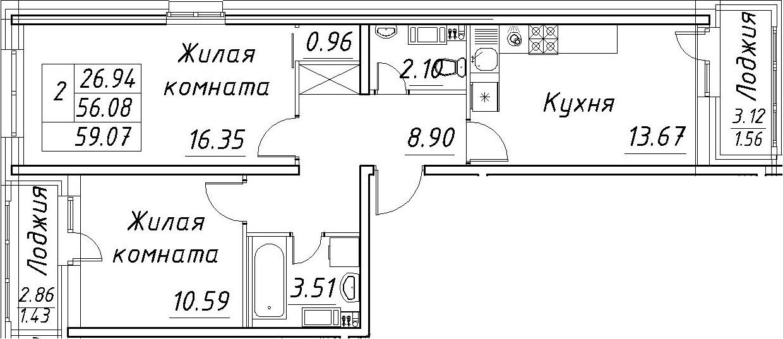 2-к.кв, 62.06 м²