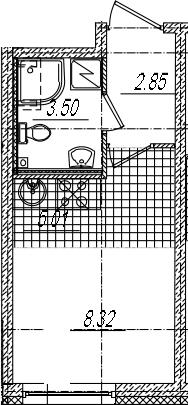 Студия, 19.68 м²