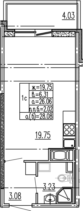 Студия, 26.06 м²– 2