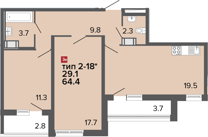 3-к.кв (евро), 70.9 м²
