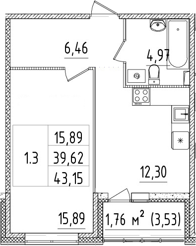 1-к.кв, 39.62 м², 1 этаж