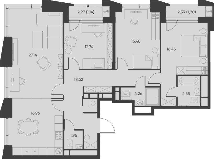 4-комнатная, 120.4 м²– 2