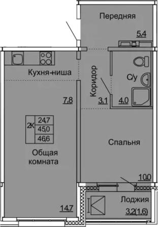 2Е-к.кв, 46.6 м², 9 этаж