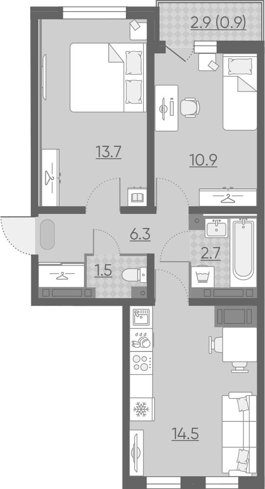 3Е-к.кв, 50.5 м², от 21 этажа