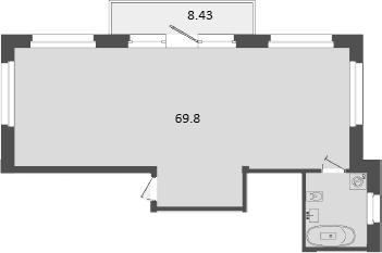 Своб. план., 69.8 м², 2 этаж