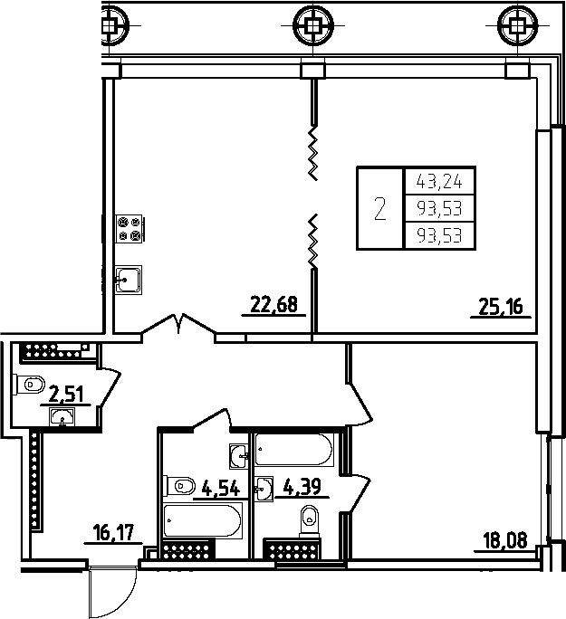 3Е-комнатная, 93.53 м²– 2