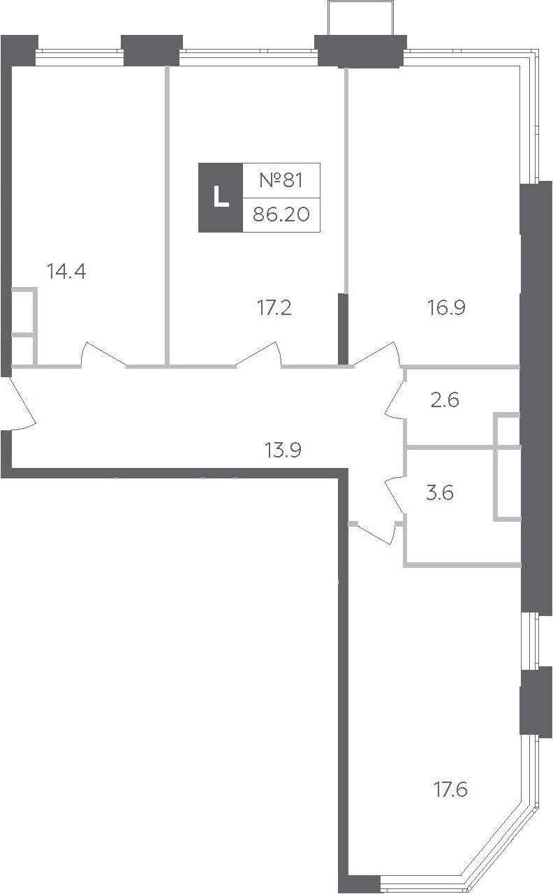 3-к.кв, 86.2 м²