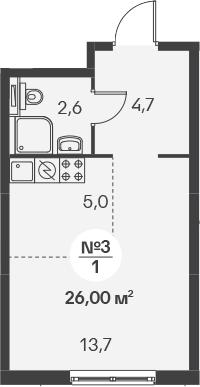 Студия, 26 м²