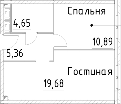 2Е-к.кв, 40.57 м², от 21 этажа