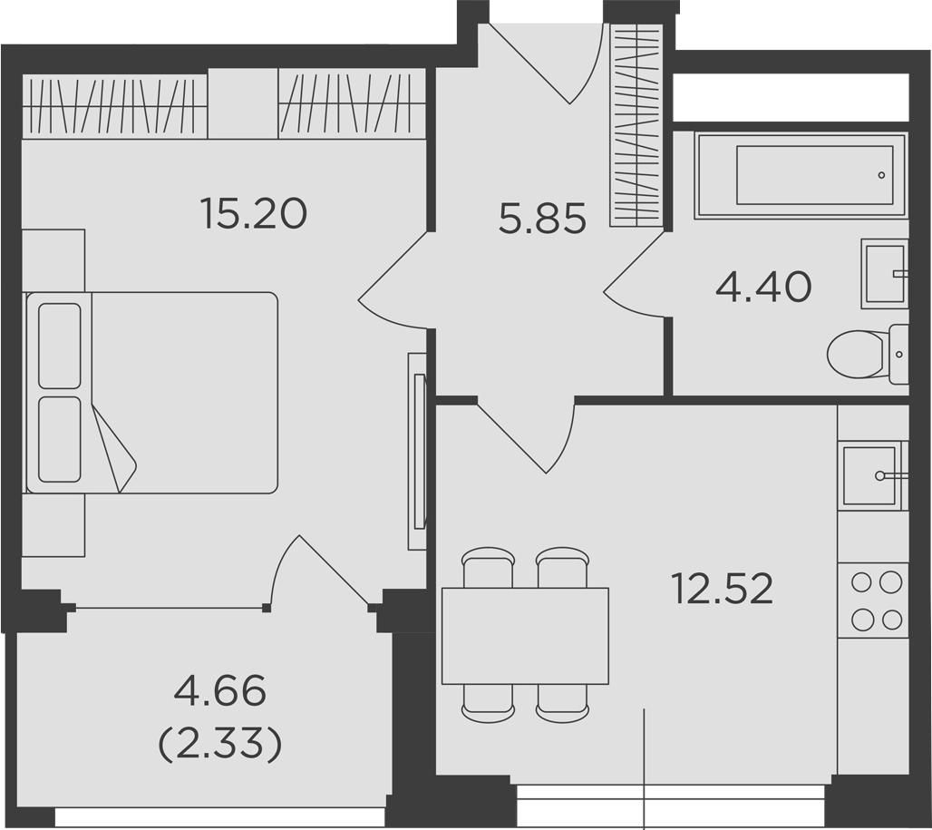 1-к.кв, 40.3 м², от 14 этажа