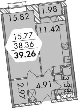 1-к.кв, 40.48 м²