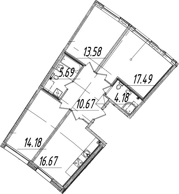 4Е-к.кв, 82.46 м², 2 этаж