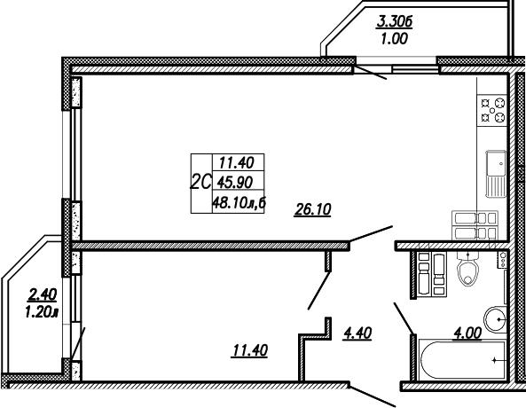 2-к.кв (евро), 51.63 м²