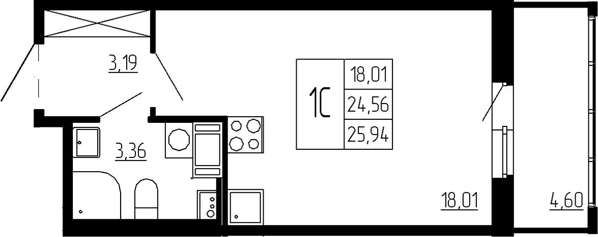 Студия, 24.56 м², 2 этаж