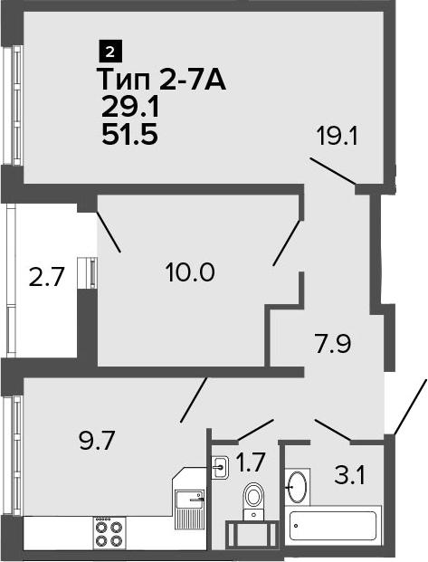 2-к.кв, 51.5 м²