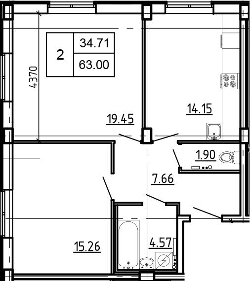2-к.кв, 63 м²