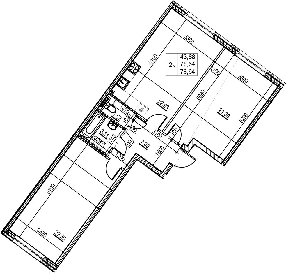 3Е-комнатная, 78.64 м²– 2