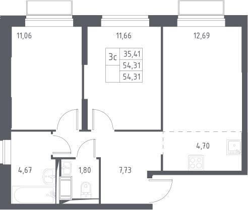 3Е-к.кв, 54.31 м², 3 этаж