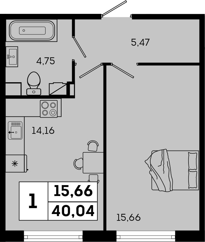 1-к.кв, 40.04 м²