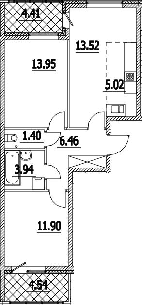 3-к.кв (евро), 65.14 м²