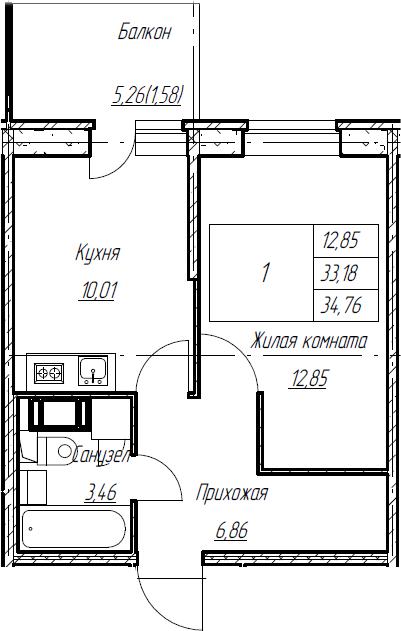 1-к.кв, 34.76 м², от 8 этажа