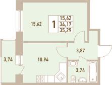 1-к.кв, 35.29 м²