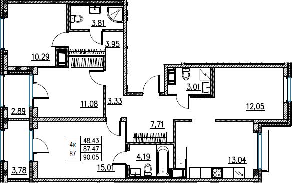 4-комнатная, 90.05 м²– 2