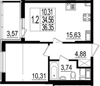 2Е-к.кв, 36.35 м²