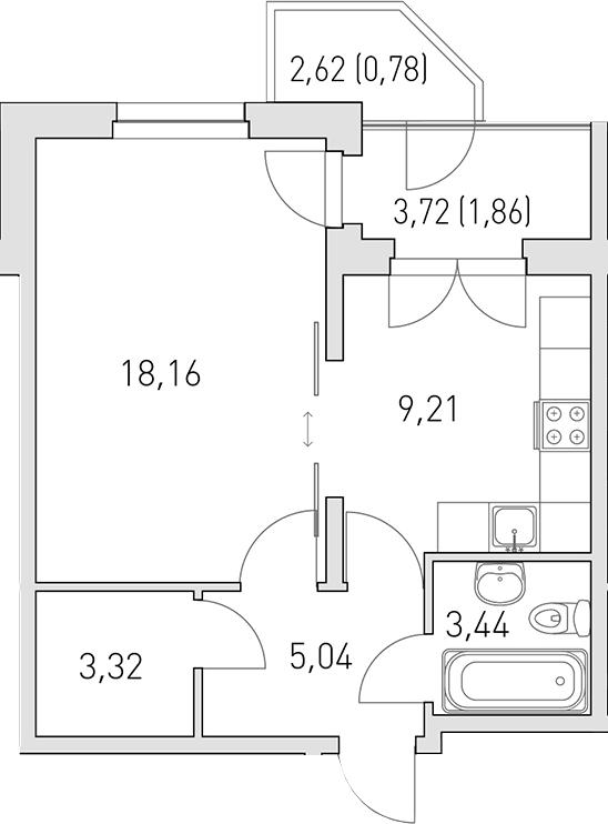1-к.кв, 44.45 м²