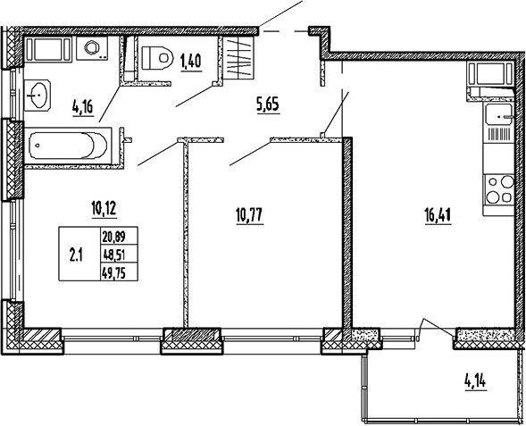 3Е-к.кв, 48.51 м²