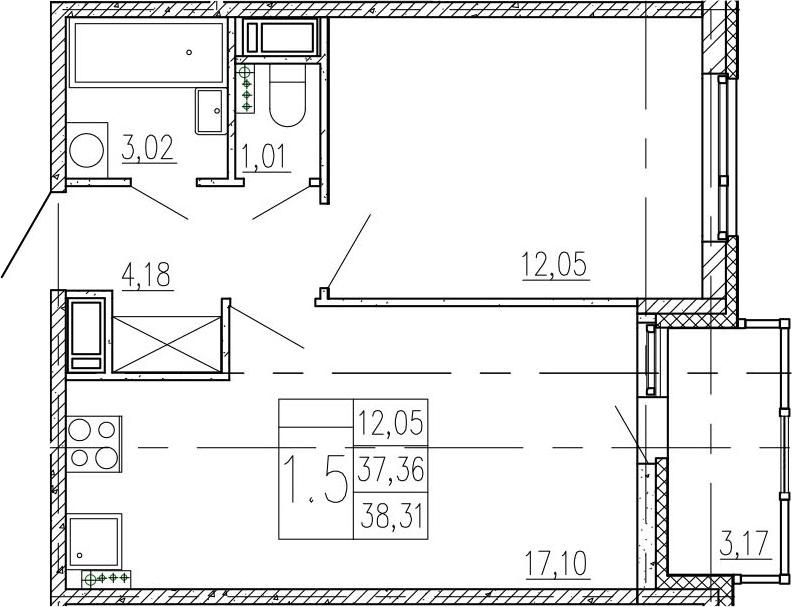 2-к.кв (евро), 40.53 м²