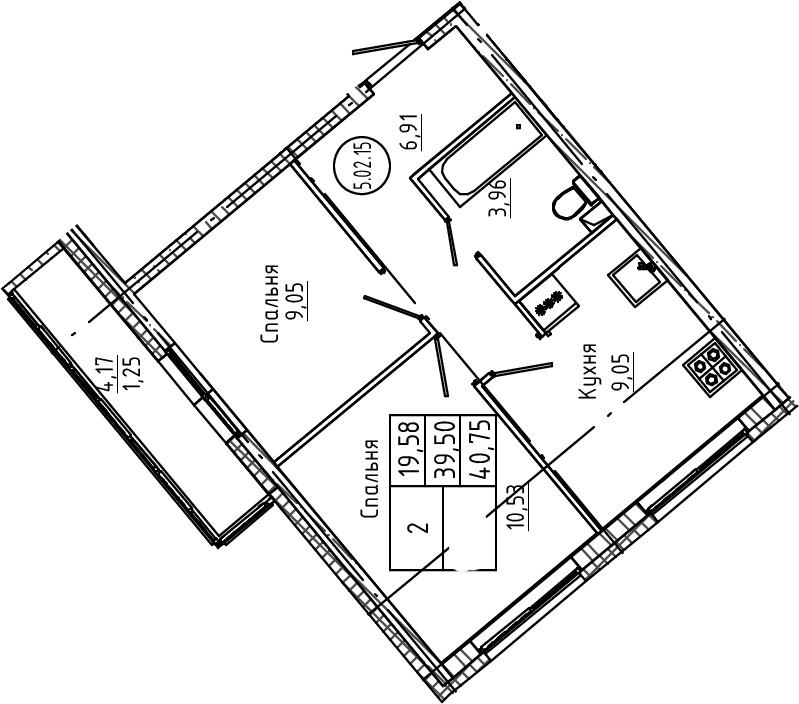 2-к.кв, 40.75 м²