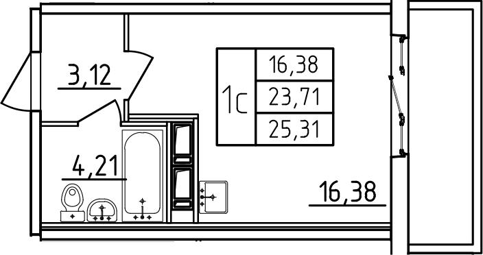Студия, 25.31 м², 7 этаж