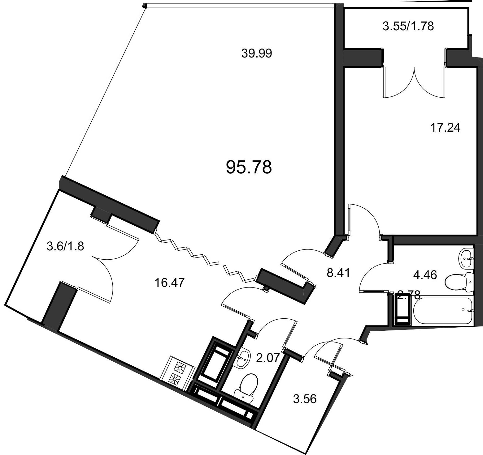 2-комнатная, 96.4 м²– 2