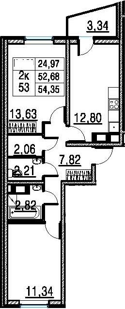 2-к.кв, 54.35 м²