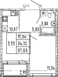 2Е-комнатная, 34.12 м²– 2