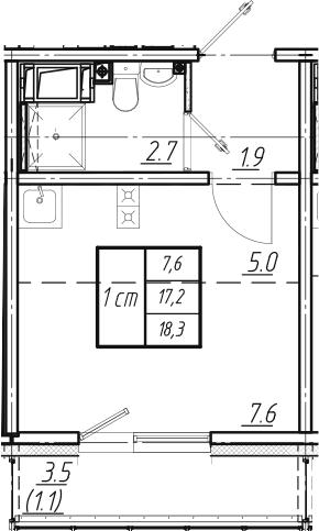 Студия, 18.3 м², от 10 этажа