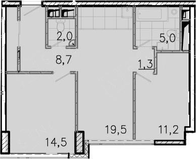 3-к.кв (евро), 62.5 м²