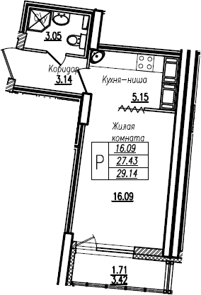 Студия, 29.14 м²– 2