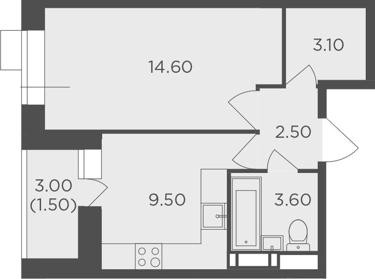 1-к.кв, 34.8 м², 5 этаж