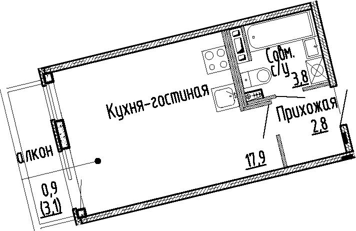 Студия, 24.5 м², 4 этаж
