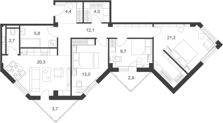 4Е-комнатная, 101.3 м²– 2